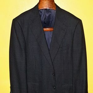 Ermenegildo Zegna suit jacket black & tan plaid